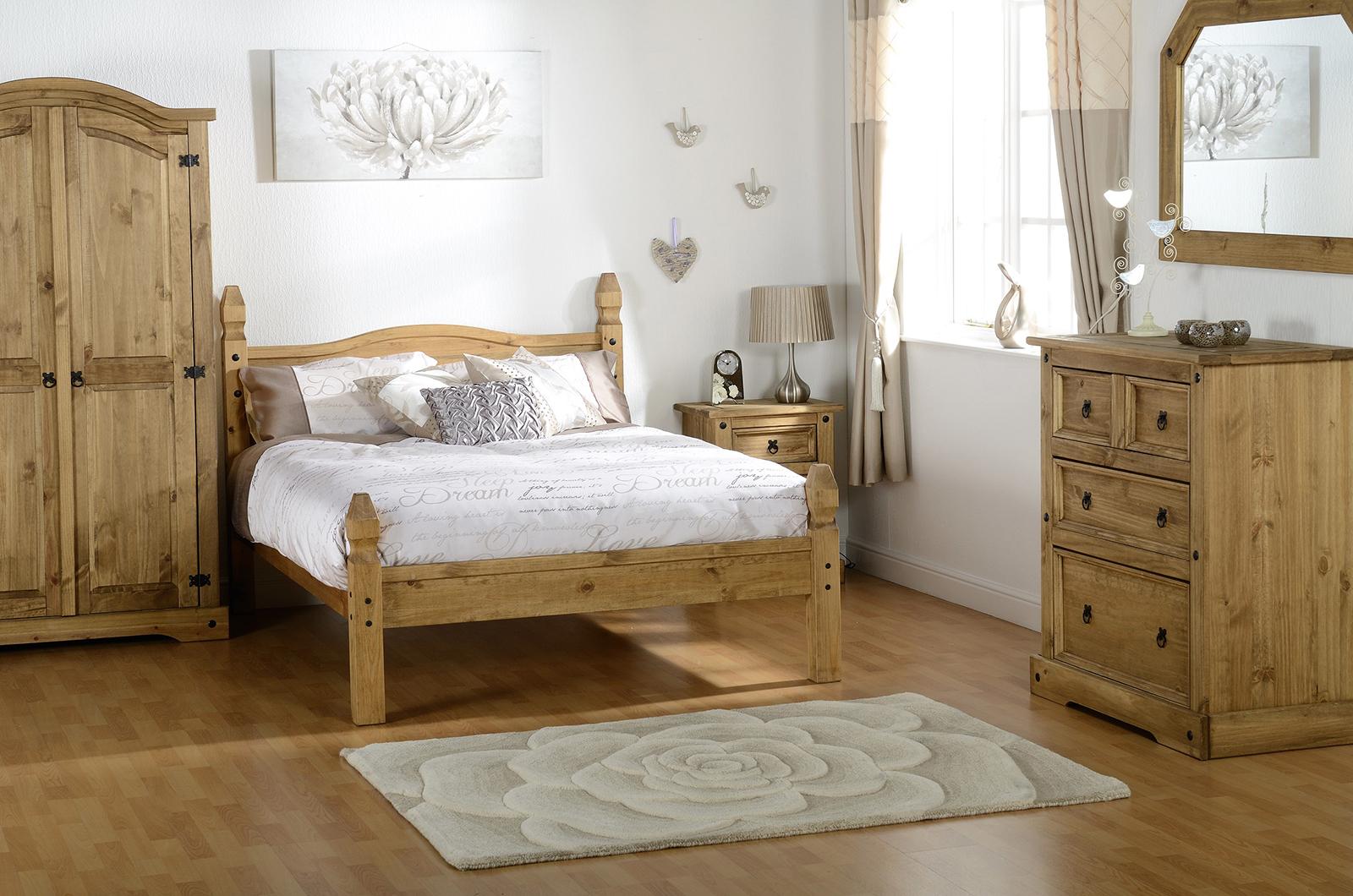 Corona trio set distressed waxed pine factory bedrooms for Distressed pine bedroom furniture