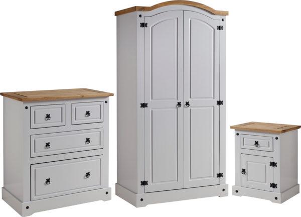 Corona Trio bedroom set in grey/distressed waxed pine - 2 door wardrobe, drawer chest and 1 draw 1 door bedside cabinet