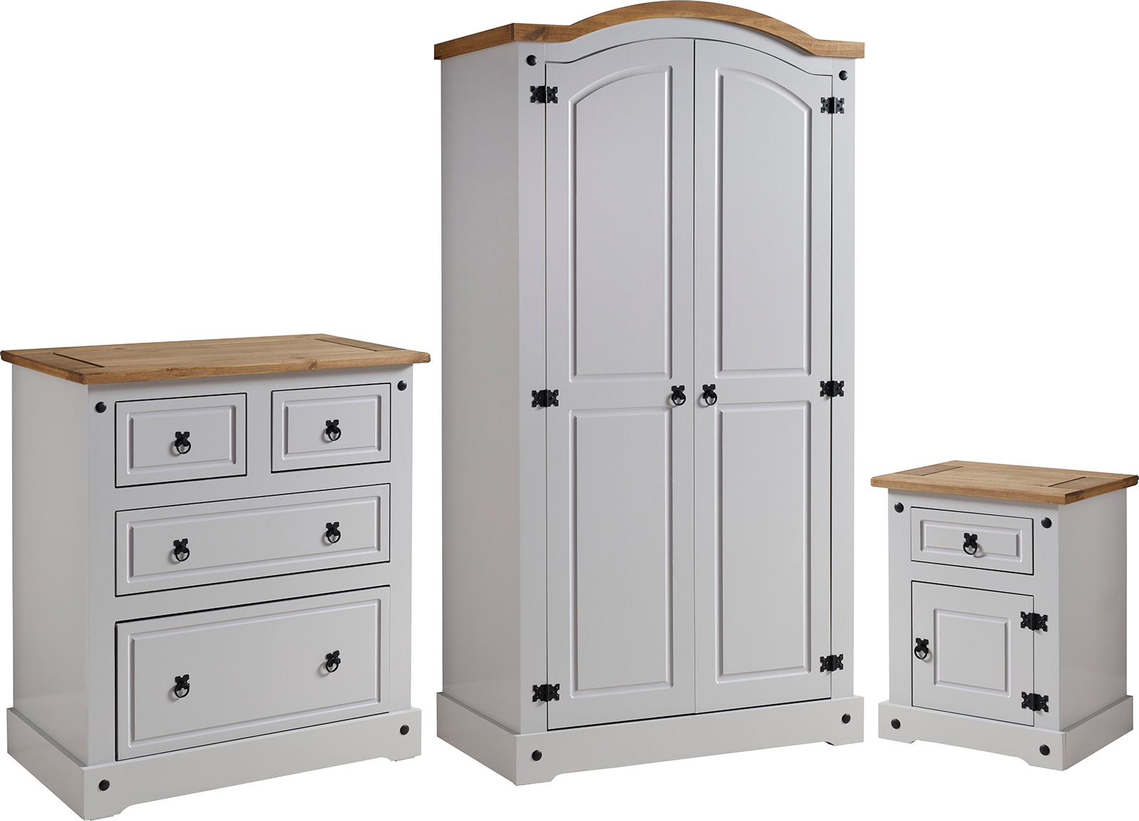 Corona Trio Set Grey Distressed Waxed Pine Factory