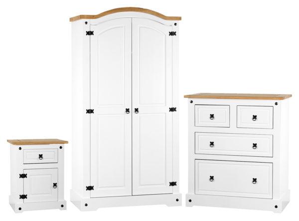 Corona Trio bedroom set in white/distressed waxed pine - 2 door wardrobe, drawer chest and 1 draw 1 door bedside cabinet