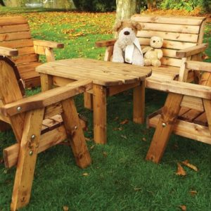 Kids garden furniture table set includes 2 benches, 2 chairs and a table