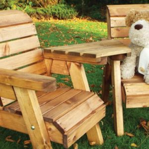 Kids garden furniture solid wooden twin companion set includes 2 chairs with a detachable angle tray