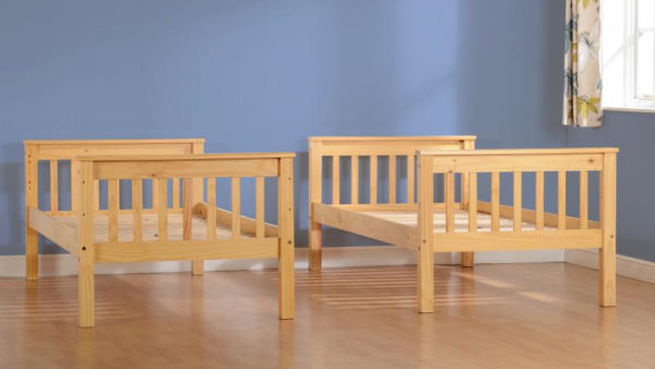Neptune 3ft bunk bed in oak effect, shown separated into 2 beds