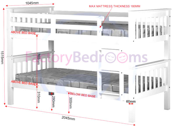Neptune 3ft bunk bed in white, showing all the measurements