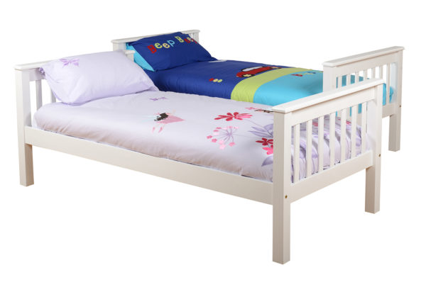 Neptune 3ft bunk bed in white, shown separated into 2 beds