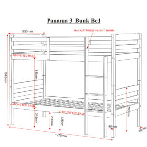 Panama 3ft bunk bed in natural wax, showing all the measurements