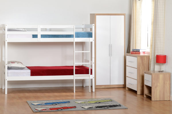 Panama 3ft bunk bed in white, shown in bedroom