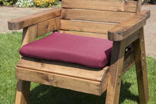 Single waterproof cushion seat in burgundy