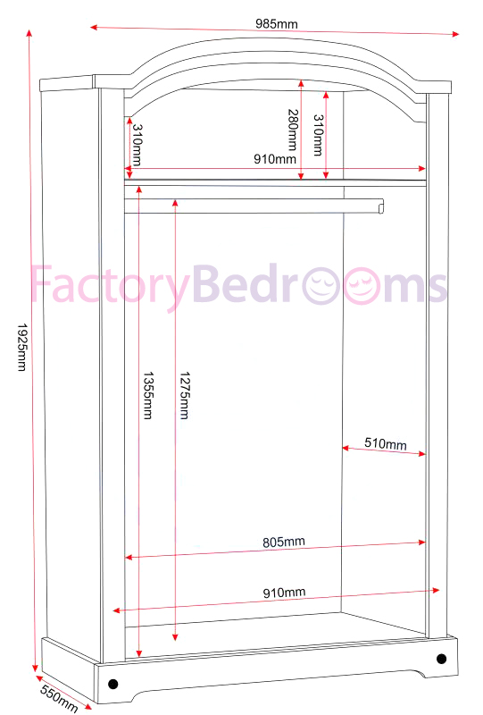 White/distressed waxed pine 2 door wardrobe illustration showing all dimensions
