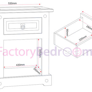 White/distressed waxed pine 1 drawer 1 door bedside cabinet illustration showing all dimensions