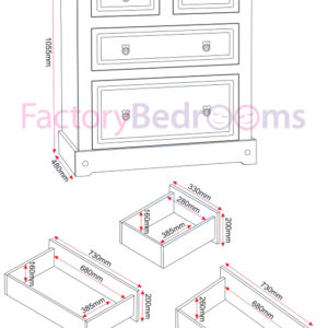 White/distressed waxed pine drawer chest illustration showing all dimensions