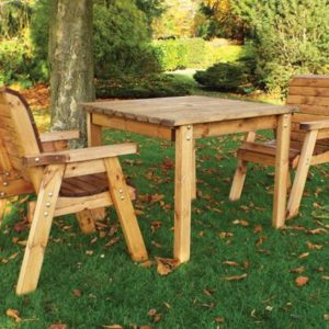 Wood 2 seater square table set garden furniture