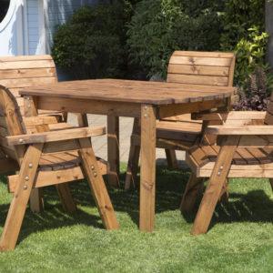 Wood 4 seater rectangular table set garden furniture