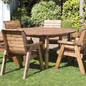 Wood 6 seater circular table set garden furniture