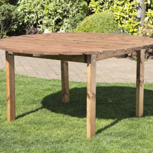 Wood circular table garden table with parasol hole, leg are detachable for easy storage