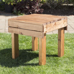 Wooden garden furniture drinks table, front view