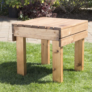 Wooden garden furniture drinks table, side view